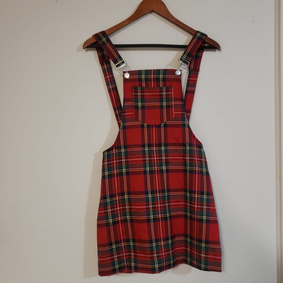 NWOT Overall dress. Size XS by SHEIN. Red plaid